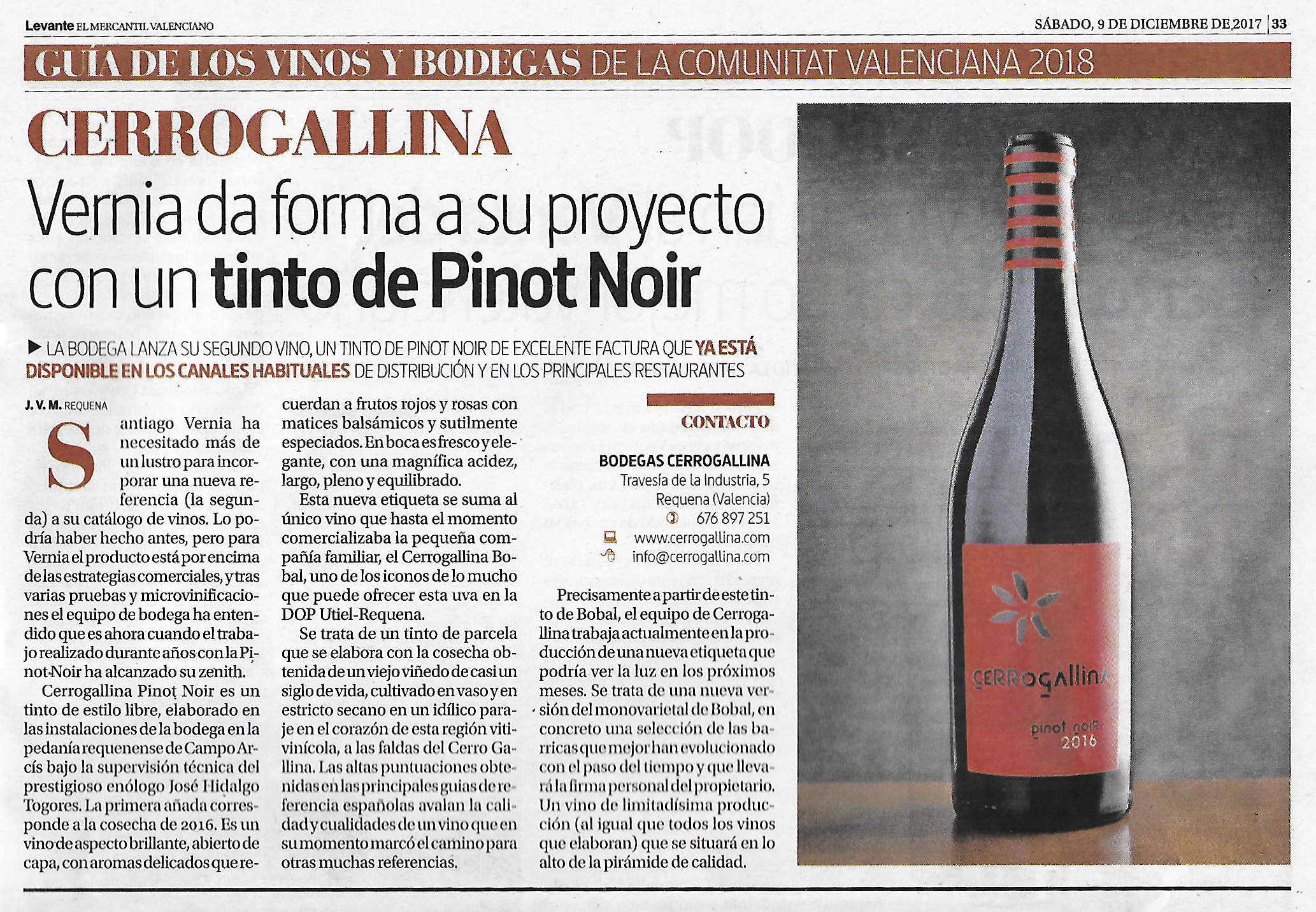 Cerrogallina Pinot Noir in the newspaper again